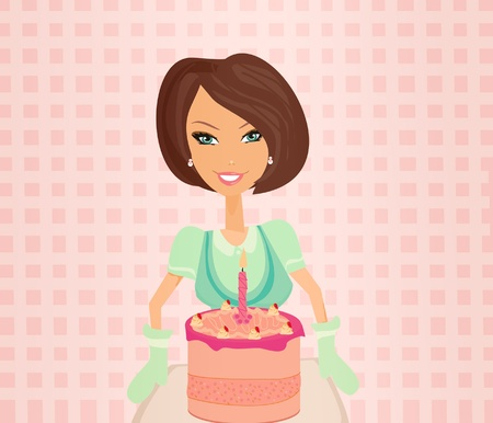 beautiful Housewife cooking  Vector