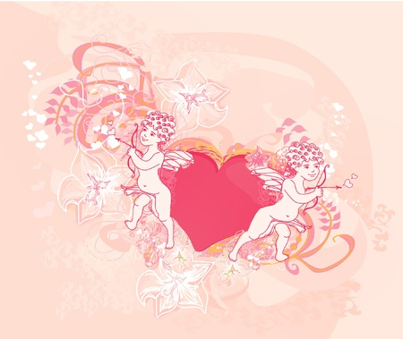 happy valentines day card con cupido