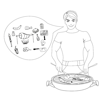 Cartoon Male dressed in grilling attire cooking meat.Barbecue icon  Vector