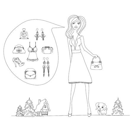 shoptalk: fashion girl Shopping doodle illustration  Illustration
