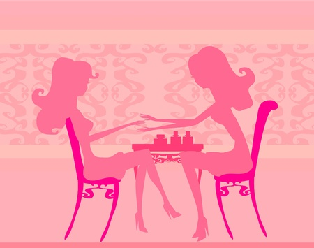 cartoon hairdresser: Young lady doing manicure in beauty salon
