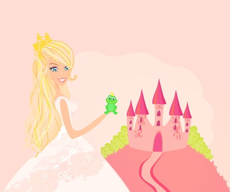 Beautiful young princess holding a big green frog  Stock Vector - 12162402