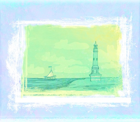 lighthouse seen from a tiny beach - Grunge Poster  Stock Photo - 12162429