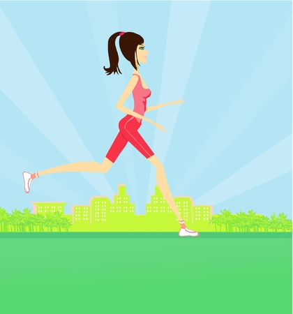cardio workout: Jogging girl in summer
