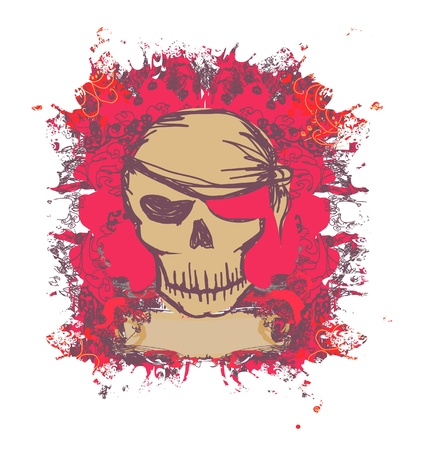 Skull Pirate - retro card  Vector