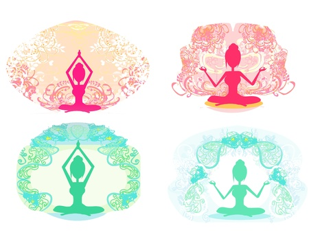 Silhouette of a Girl in Yoga pose - set  Vector