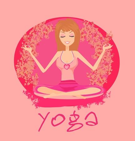 Yoga girl in position  Vector