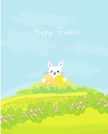 Illustration of happy Easter bunny carrying egg  Vector