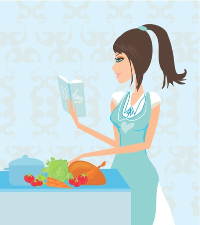 stereotypical housewife: Beautiful lady serving chicken  Illustration
