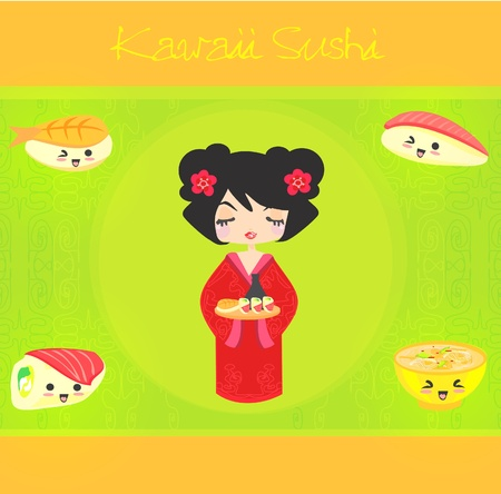 kawaii cute sushi set Stock Vector - 12162460
