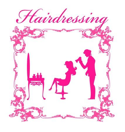 Vector illustration of the beautiful woman in hairdressing salon .  Иллюстрация