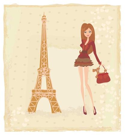 schönen Frauen Shopping in Paris - Vektor-Karte Vektorgrafik