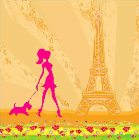 Mädchen Shopping in Paris Vektorgrafik