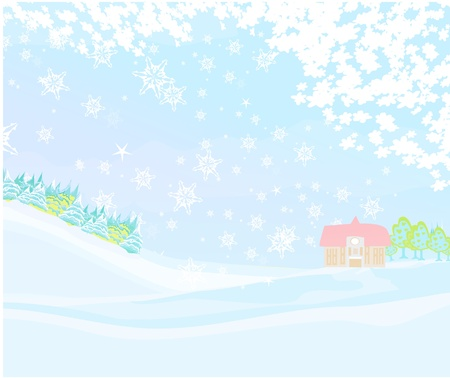 Winter in the village card  Vector