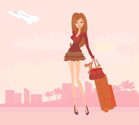 tourist resort: beauty travel girl with baggage  Illustration