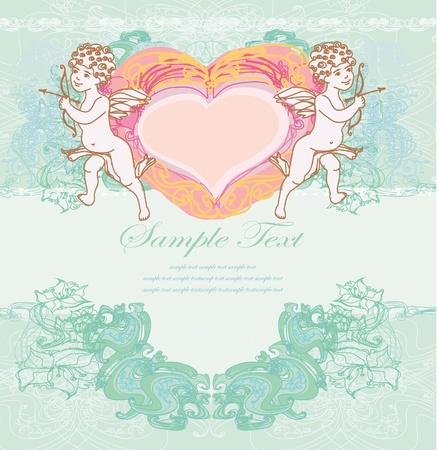 siluetas: happy valentines day card with cupid  Illustration
