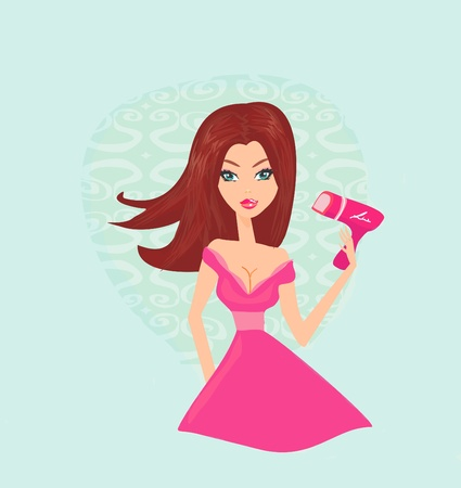 beautiful woman drying her hair by dryer Stock Vector - 12459883