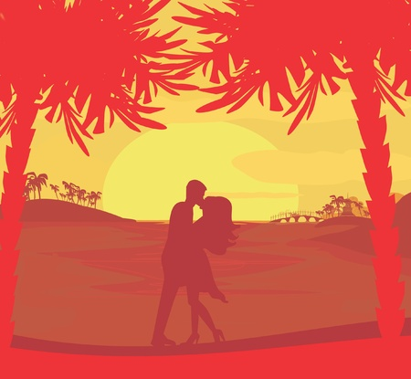 silhouette couple kissing on tropical beach Stock Vector - 12459936