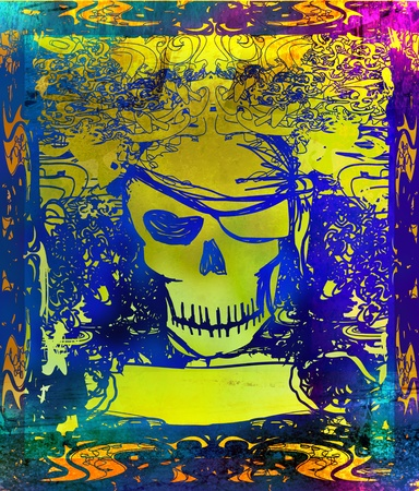 caribbean sea: Skull Pirate - retro card Stock Photo