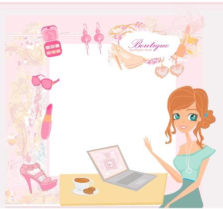 Online winkelen - jonge lachende vrouw zitten met laptop computer Vector Illustratie