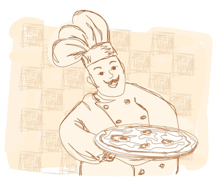 chef with pizza - doodle illustration  Vector