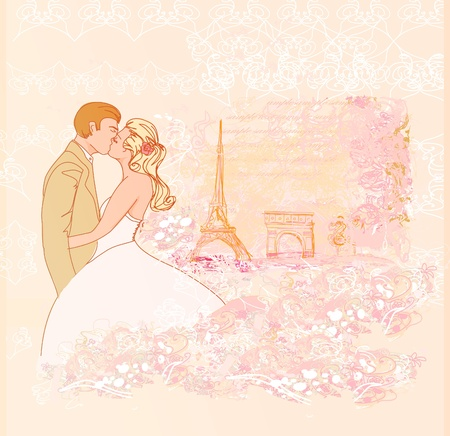 Romantic couple in Paris kissing near the Eiffel Tower. Retro card.  Vector