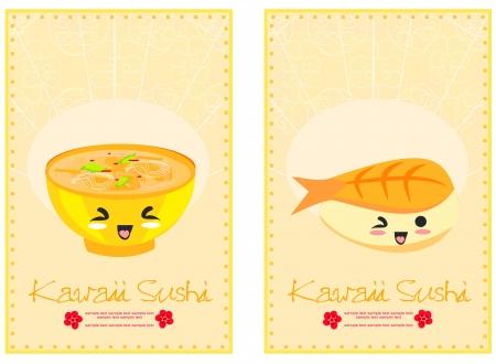 cute sushi cartoon illustration - vector card  Vector