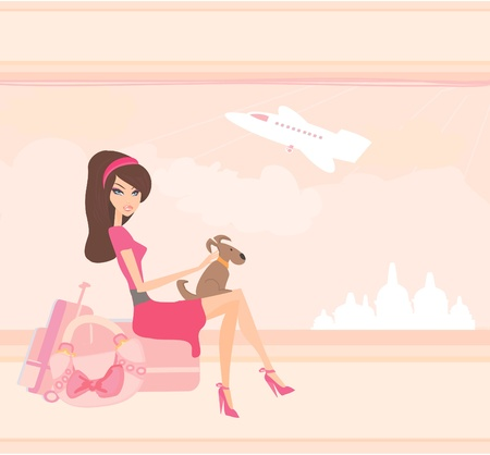 seabird: beauty travel girl with baggage  Illustration
