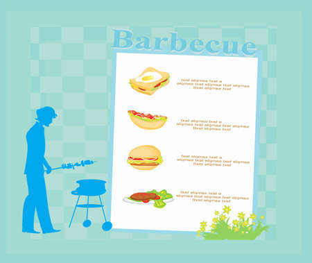 man cooking on his barbecue. Invitation  Vector