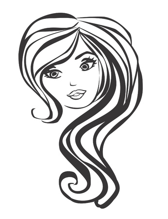 hair cover: Abstract Beautiful Woman doodle Portrait