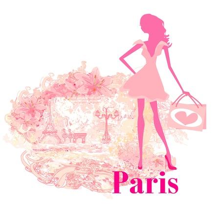 beautiful women Shopping in Paris - vector card  Vector