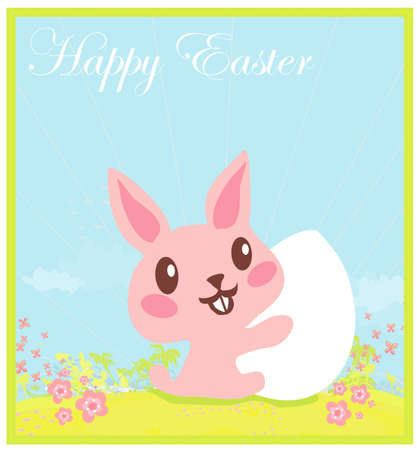 Illustration of happy Easter bunny carrying egg Stock Vector - 12460002