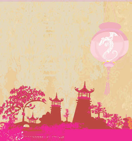 old paper with Asian Landscape and Chinese Lanterns - vintage japanese style background  Stock Vector - 12460003