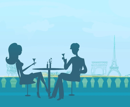 fine dining: Young couple flirt and drink champagne in Paris  Illustration