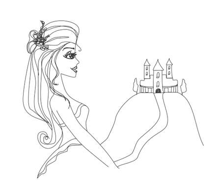 Beautiful young princess in front of her castle Stock Vector - 12459994