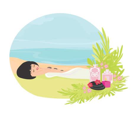 pretty girl enjoying elegant spa  Vector