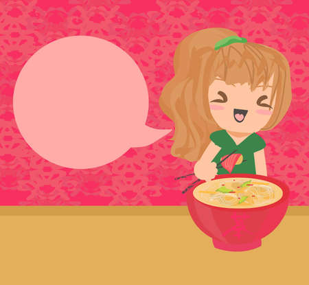 sweet girl enjoy sushi  Vector