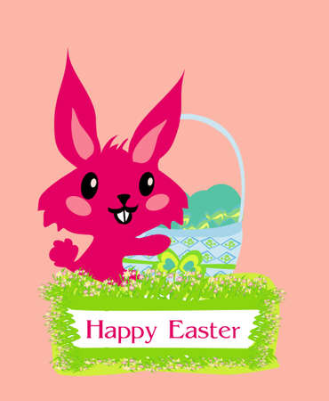 Illustration of happy Easter bunny carrying egg Stock Vector - 12459962