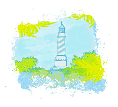 lighthouse seen from a tiny beach - Grunge Poster  Stock Vector - 12459966
