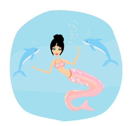 Illustration of a Beautiful mermaid  Vector