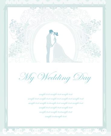 hand holding card: elegante huwelijksuitnodiging