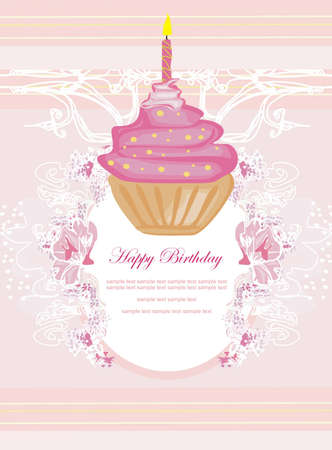 layer cake: illustration of cute retro cupcakes card - Happy Birthday Card