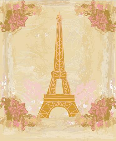 vintage retro Eiffel card  Ilustracja