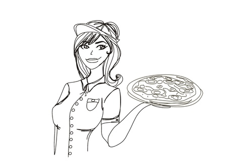 restaurant staff: Young waitress with pizza. doodle