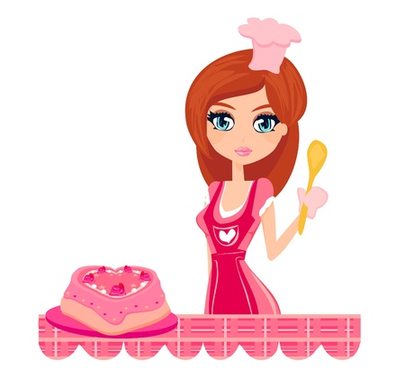 stereotypical housewife: sweet Housewife cooking  Illustration
