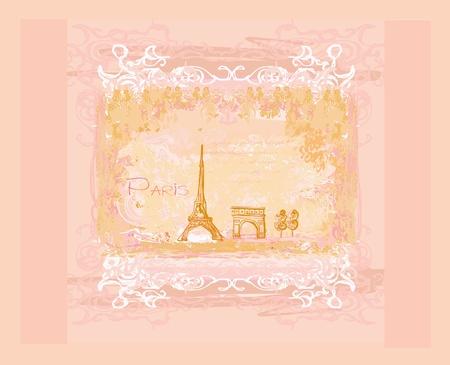 vintage retro Eiffel card  Illustration