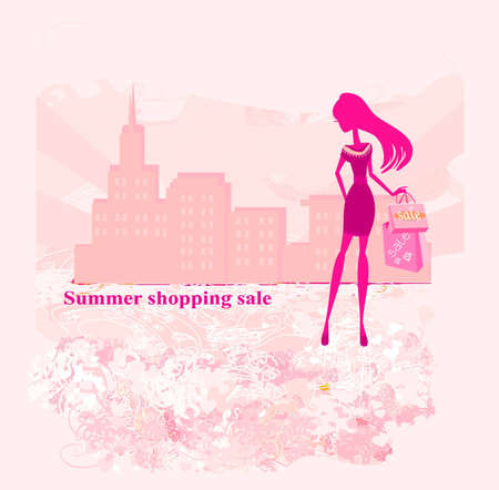 fashion silhouettes girl Shopping in the city Stock Vector - 12460086
