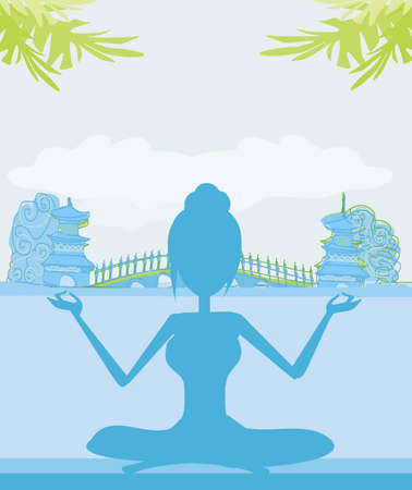 Silhouette of a Girl in Yoga pose on Summer background with palm tree  Vector
