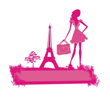 accessory: beautiful women Shopping in Paris - vector card     Illustration