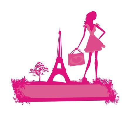 beautiful women Shopping in Paris - vector card     Illustration
